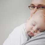 Martine met slapende baby